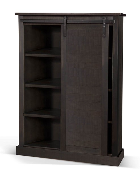 Sunny Designs Dark Brown Charred Oak Barn Door Bookcase 2817CO2