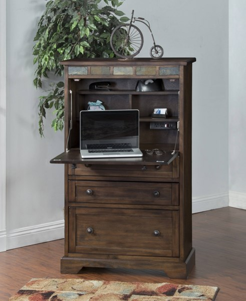Savannah Antique Charcoal Wood Three Shelves Laptop Armoire 2849AC-S