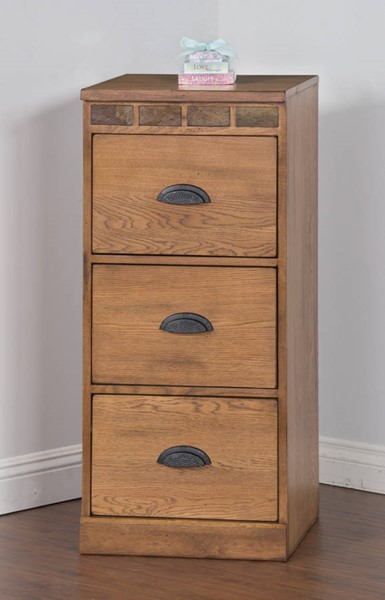 Sedona Rustic Oak Wood Three Drawers File Cabinet 2863RO-F3