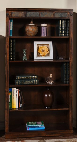 Santa Fe Dark Chocolate Wood Wall Recessed Tall 60 Inch Bookcase 2952DC-60