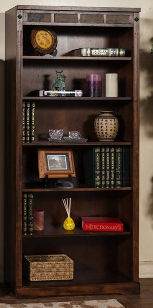 Santa Fe Dark Chocolate Wood Wall Recessed Tall 72 Inch Bookcase 2952DC-72