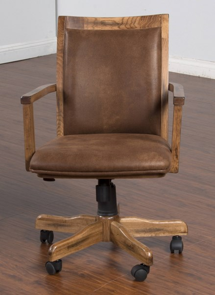 Sedona Traditional Rustic Oak Wood Adjustable Height Office Chair 2961RO