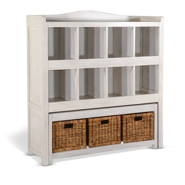 Sunny Designs Marble White Storage Bookcase And Bench 2993MW