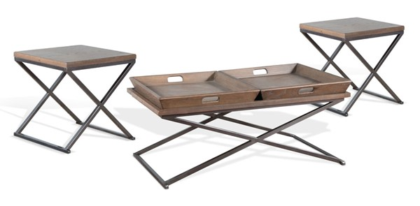 Sunny Designs Dark Taupe Camel 3pc Coffee Table Sets 3110CM-3PK