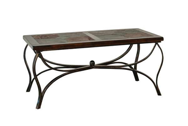 Santa Fe Traditional Dark Chocolate Wood Metal Rectangle Coffee Table 3125DC-C