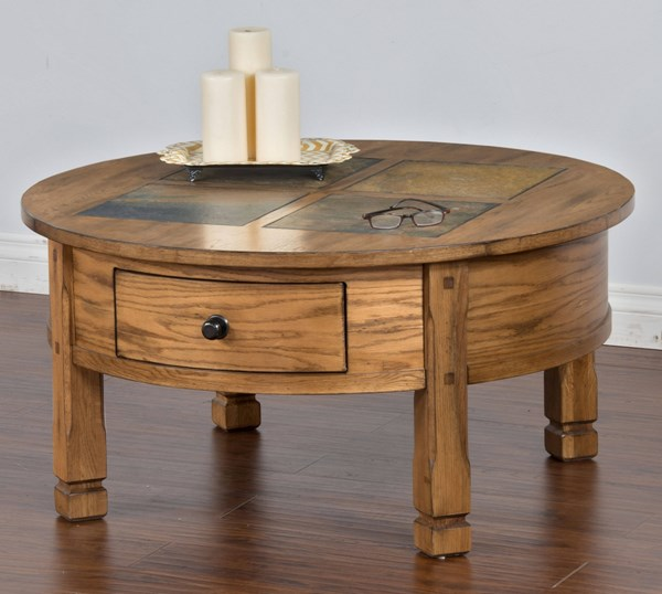 Sedona Traditional Rustic Oak Wood Storage Round Coffee Table 3143RO-CR