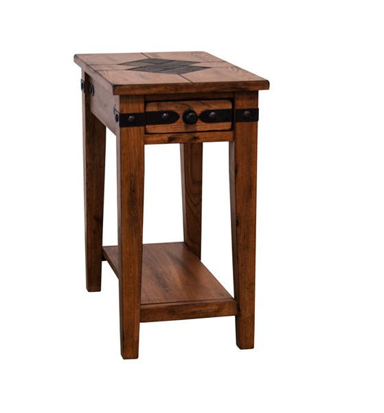 Sedona Traditional Rustic Oak Wood Storage Chair Side Table 3160RO-CS