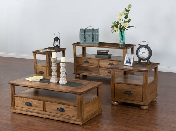 Sedona Traditional Rustic Oak Wood Drawer And Shelve Coffee Table Set K3163RO-CE-OCT