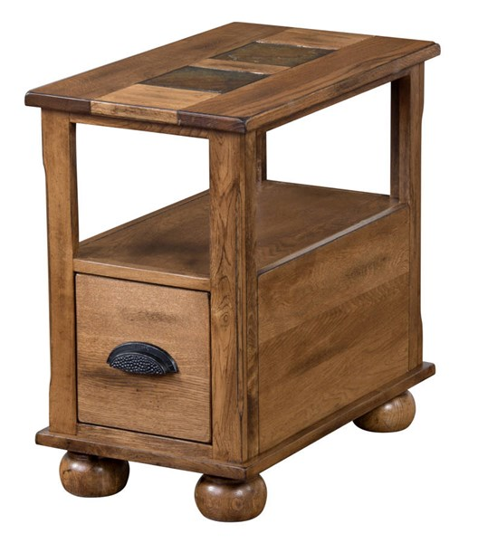 Sedona Traditional Rustic Oak Wood Drawer And Shelve Chair Side Table 3163RO-CS