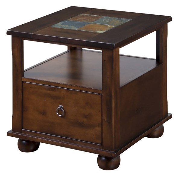 Santa Fe Traditional Dark Chocolate Wood Square End Table 3164DC-E
