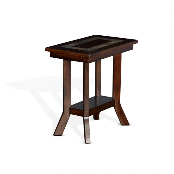 Dark Hazelnut Wood Storage Rectangle Chair Side Table 3175DH-CS