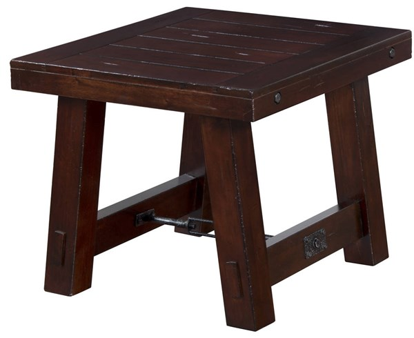 Vineyard Rustic Mahogany Wood Rectangle End Table 3189RM-E