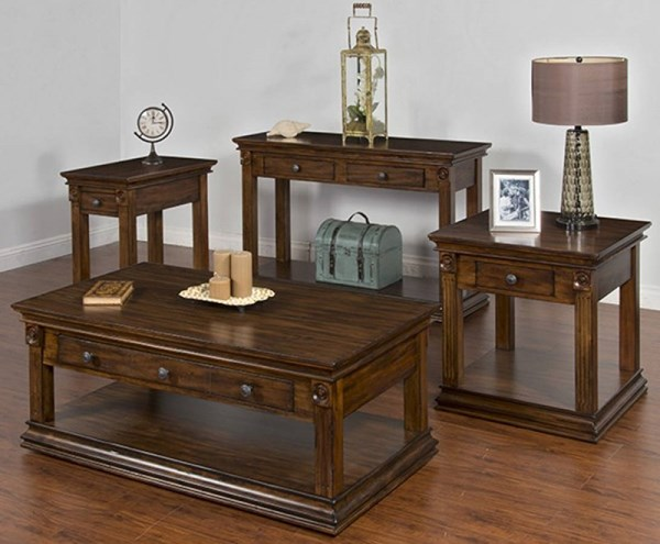 Savannah Antique Charcoal Wood Rectangle Storage 3pc Coffee Table Set 3243AC-OCT-S1