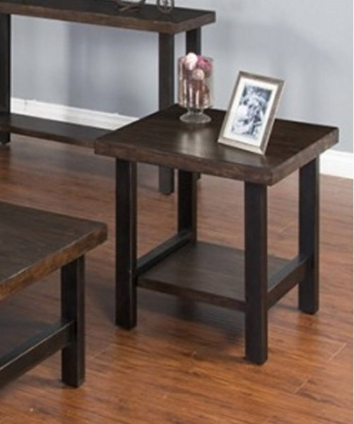 Weathered Pine Wood Shelves Square End Table 3244WP-E