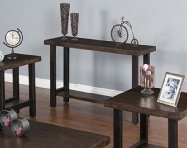 Weathered Pine Wood Shelves Rectangle Console Table 3244WP-S