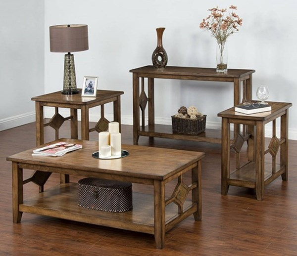 Coventry Burnish Mocha 3pc Coffee Table Set w/Chairside Table 3245BM-OCT-S2