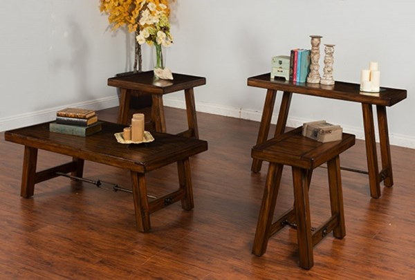 Tuscany Vintage Mocha Wood 3pc Coffee Table Set W/Chairside Table 3247VM-OCT-S2