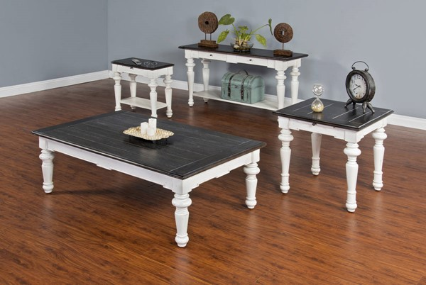 Sunny Designs Off White Dark Brown European Cottage 3pc Coffee Table Set 3273EC-OCT-S1