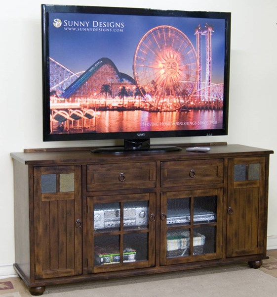 Sunny Designs Santa Fe Dark Chocolate Wood TV Console Only 3322DC-TC