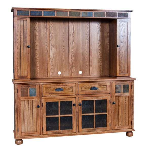 Sedona Traditional Rustic Oak Wood Media Hutch Only 3322RO-MH