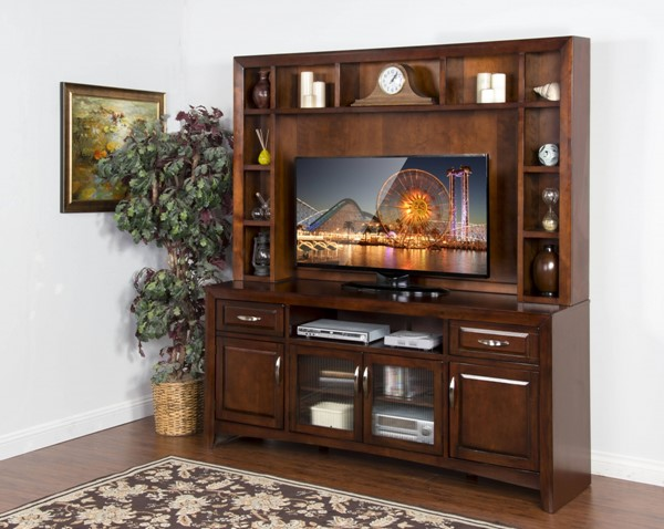 Cappuccino Wood Two Drawers And Nine Shelves TV Console With Hutch K3332CA