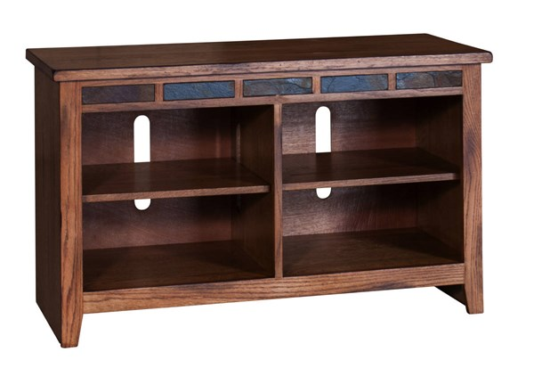 Sedona Traditional Rustic Oak Wood Four Shelves 42 Inch TV Console 3398RO-42