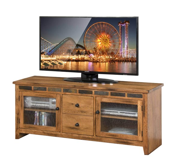 Sedona Traditional Rustic Oak Wood Two Drawers 62 Inch TV Console 3398RO-62