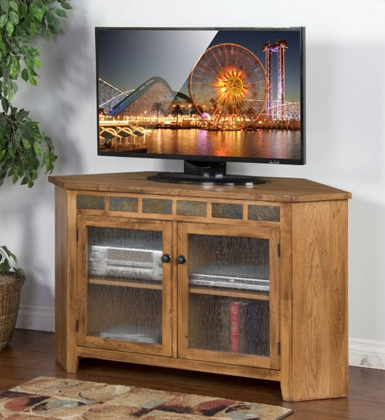 Sedona Rustic Oak Wood Corner Distressed Finish TV Console 3399RO