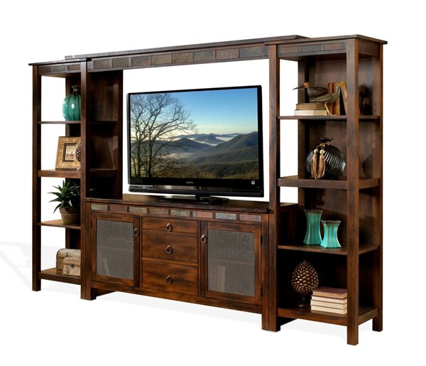 Sunny Designs Santa Fe Dark Brown Open Storage Entertainment Wall 3403DC2