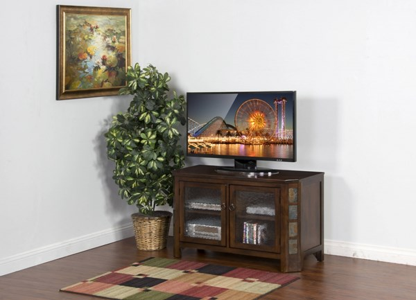 Santa Fe Dark Chocolate Wood Distressed Finish 45 Inch TV Console 3416DC-45