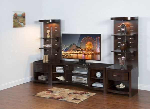 Espresso Wood Drawers And Shelves Open Storage Entertainment Center 3431E-ENT