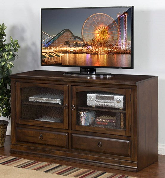 Santa Fe Dark Chocolate Wood Glass Two Drawers Door TV Console 3439DC-TC