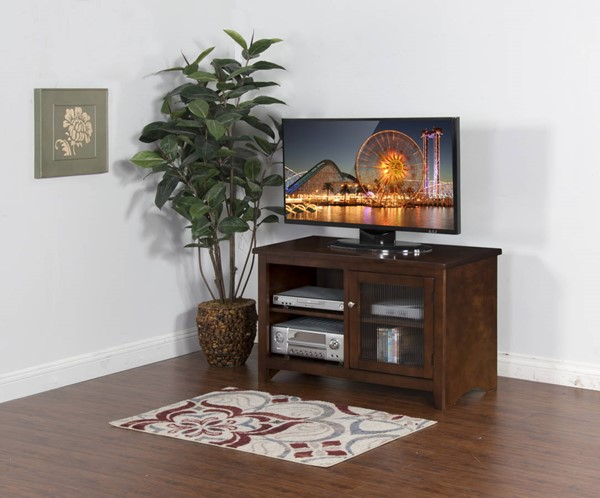 Cappuccino Wood Glass Doors 2 Shelves TV Consoles 3447CA-VAR