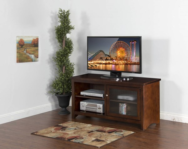 Cappuccino Wood Glass Door Two Shelves 52 Inch TV Console 3447CA-52R