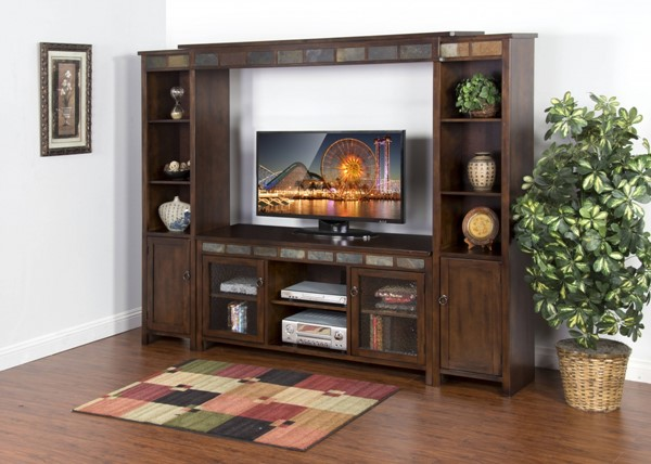 Santa Fe Dark Chocolate Wood Open Storage 60 Inch Entertainment Wall K3464DC