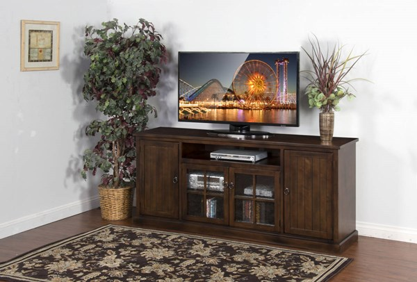 Santa Fe Dark Chocolate Wood Glass Door Two Shelves 78 Inch TV Console 3474DC-78
