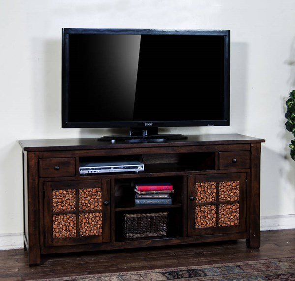 Woodland Dark Tobacco Wood 64 Inch TV Console 3484DT-64
