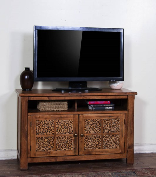 Rustic Birch Glass Wood Shelves 48 Inch TV Console 3484RB-48