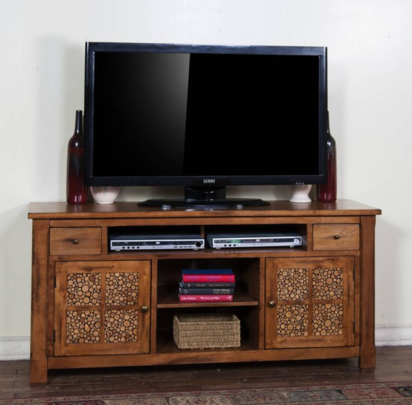 Rustic Birch Glass Wood Drawers And Shelves 64 Inch TV Console 3484RB-64