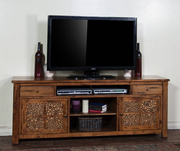 Rustic Birch Glass Wood Drawers And Shelves 78 Inch TV Console 3484RB-78