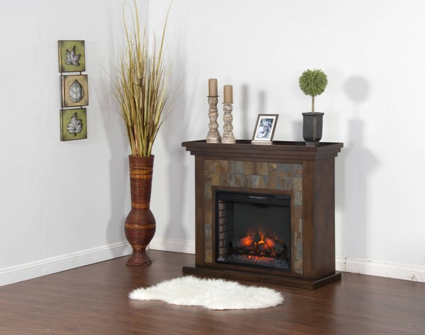Santa Fe Dark Chocolate Wood Heater Insert Fireplace Console K3486DC-50F
