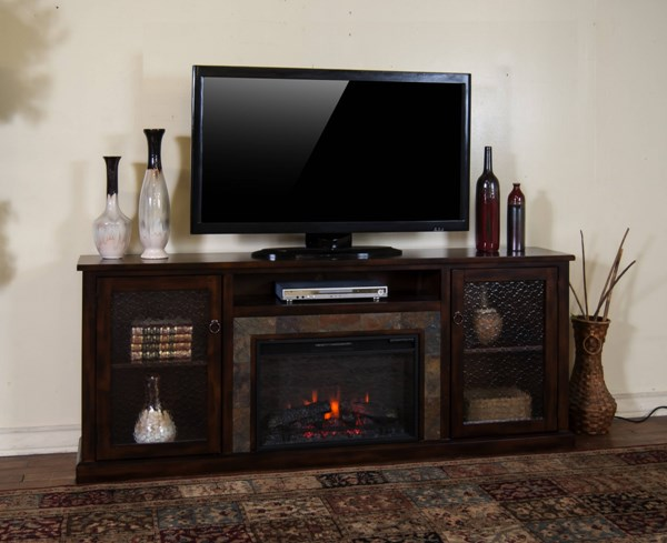 Santa Fe Dark Chocolate Wood Metal Media Console K3488-80F-TV-VAR