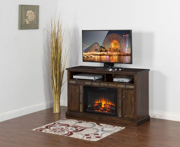 Santa Fe Dark Chocolate Wood Media Console TV Stand W/Fireplace K3490DC-54F