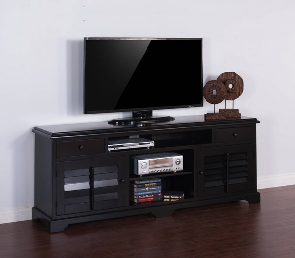 Black Wood Two Drawers And Four Shelves 78 Inch Console 3497B-78