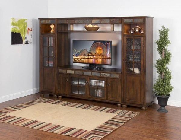 Santa Fe Dark Chocolate Wood Nine Shelves 62 Inch Entertainment Wall K3509DC