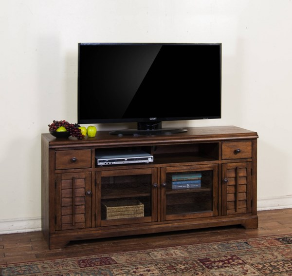Savannah Antique Charcoal Wood Two Drawers 65 Inch TV Console 3535AC-65