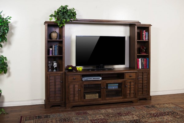 Savannah Antique Charcoal Wood Two Drawers Entertainment Wall 3535AC