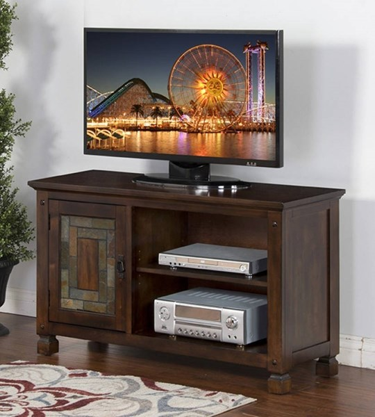 Dark Hazelnut Wood Adjustable Shelves TV Consoles W/Slate 3537DH-TV-VAR
