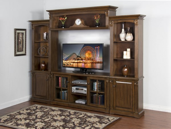 Savannah Antique Charcoal Wood Open Storage Entertainment Center 3543AC-ENT