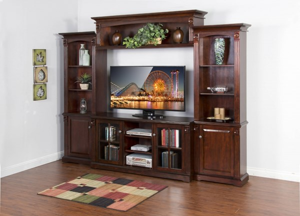 Vineyard Rustic Mahogany Wood Open Storage Entertainment Center 3543RM-ENT